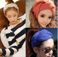 Wholesale NEW FASHION GIRLS WOMEN Headband Beanie Ear Warmer Handmade Knitted Crochet head wrap turban bow hairband Boutique colors hair jewelry