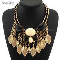 Women's acryl resin - Fashion Knit Wrap Chain Big Resins Acryl Bead Alloy Leaf Tassels Pendant Statement Necklace Choker Jewelry CE1633