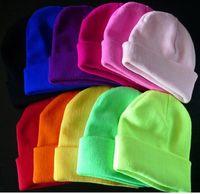 Wholesale 28 Colors Hot Sale Fashion Knitted Neon Women Beanie Girls Autumn Casual Cap Women s Warm Winter Hats Unisex