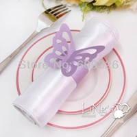 Wholesale 50pcs Lavender Butterfly Paper Napkin Rings