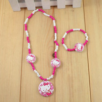 Wholesale Handmade children jewelry sets kid baby products children cute kitty necklace children gift N CS48
