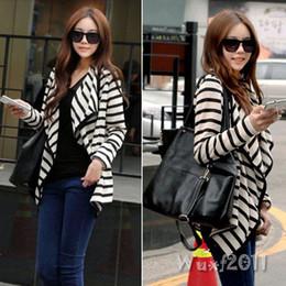 Wholesale New Fashion Women Long Sleeve Striped Peplum Casual Tops Cardigan Blouse Jacket