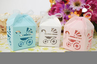Wholesale 50 pieces Laser Cut Baby Carriage Favor Box Gift Box Candy Boxes Wedding Party Baby Shower