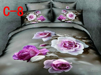 Adult Twill 100% Cotton 100%Cotton 3D Oil Painting Bedding set 4PCS,big flower pattern, Brand bed sheets comforter set Duvet Cover bed linen, AT-C08