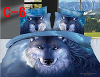 Adult Twill 100% Cotton 100%Cotton,Reactive Printed 3D Oil Painting Bedding set 4PCS, Personalized wolf pattern , Brand Duvet Cover bed linen, AT-C06