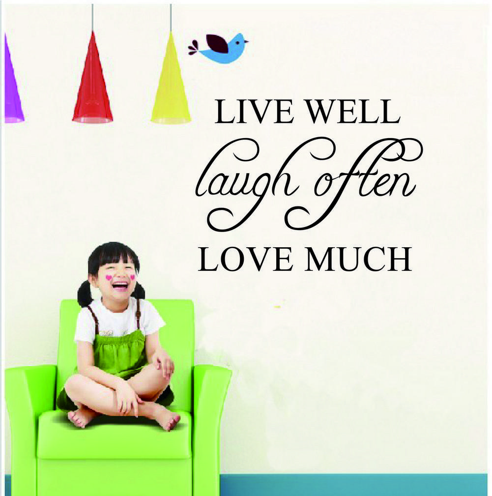 live well laugh often love much inspirational quotes wall stickers and decals for home. Black Bedroom Furniture Sets. Home Design Ideas