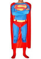 superman lycra - Adult Superman Costume Skin tight made of Lycra Spandex classic Red amp Blue