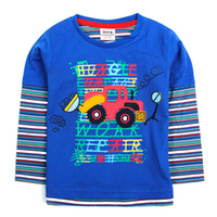 Wholesale A4226 Blue Nova new arrival m y boys long sleeve t shirts autumn winter tractor car embroidery cotton tees cheap plain baby sweater tops