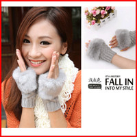 Wholesale 2013 half fingerless gloves knitted rabbit fur gloves send mixed