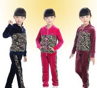 Wholesale 2013 Autumn Gold Velour Hoodies Set Children Girls Fashion Leopard Printing Casual Sets Kids Leisure Tracksuit B2142