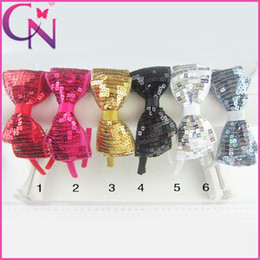 Wholesale Hot Newest Solid Bow Hair Band Girls Sequin Bow Hair Accessories Two Layeres Sequin Hairbow Hairbands colors CNH
