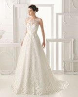 Wholesale Natural Graceful Lace A Line Wedding Dresses Bateau Backless Sweep Train Bridal Gowns Appliques Flowers Ribbon Sashes Dress Pastels Gown