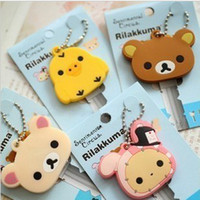 free shipping key covers - Kawaii Animal Silicon Key Caps Covers Keys Keychain Case Shell Novelty Item Christmas Gift