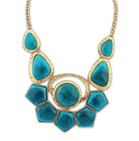 Wholesale Womens Statement Collar Necklace Jewelry Bohemia Resin Gemstone Pendant Necklaces The New