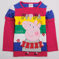 Wholesale F4140 Nova New design trendy PEPPA PIG CLOTHING m y baby girls t shirt cotton long sleeve yarn dyed stripe autumn girls shirts tops