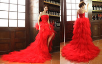 Real Photos White Strapless Free Shipping Wedding Dresses Red Princess Strapless Wedding Dresses Sweep Train Hi-lo Wedding Dresses