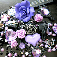 Wholesale BSI D DIY Bling Bling Cell Phone Case Resin Flatback Kawaii Cabochons Decoration Kit Set Lavender