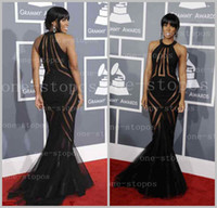 Wholesale 2014 Hot Evening Dresses Singer Kelly Rowland at The th Annual Grammy Awards Crew Mermaid Sheer Tulle Ruffles Celebrity Dresses BO1749