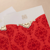 Cheap Chinese Style Golden Xi Red Auspicious Patterns Wedding Invitations Cards(25 Pcs Lot) with Envelopes and Seal, 2013 New!