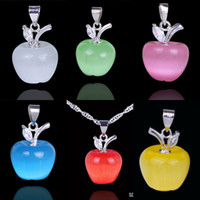 Wholesale 6Colors Pure Silver Cat Eye Pendant Gemstone Charms Necklace Make