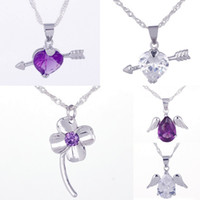 Wholesale 5pcs Pure Silver Amethyst Pendant Crystal Charms Necklace Make Jewelry Heart Wings Mixed