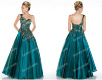 Reference Images One-Shoulder Tulle 2014 Prom Dresses Sexy A-Line One Shoulder Peacock Feather Beaded Tulle Elegant Floor Length Evening Gowns 42834H