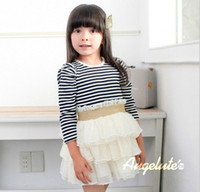 Wholesale Factory Taiwan Order Best Quality Children Dress Spring Fall Stripe Long Sleeve Girls Gauze Cake Dress Tutu Dresses Year Kids Wear QZ266