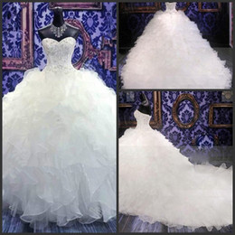 Wholesale 2015 Actual Image Crystal Beaded Sweetheart Corset White Sexy Brides Plus Size Wedding Dresses Ruffle Sexy Long Wedding Gowns No Sleeve