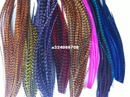 Wholesale New Arrival Beautiful quot quot Grizzly Colors Real Rooster Virgin Feather Hair Extensions