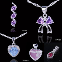 Wholesale Real Silver Pendant Gemstone Crystal Charm For Necklace Making Jewelry Mixed