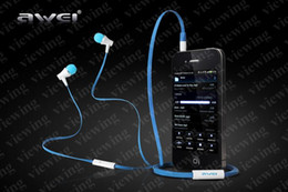 Wholesale Great Sound Provider Awei ES i mm Sky Blue Flat Noodle In Ear Earphones Headset with Mic for iphone s Samsung s3 s4 ipad ipod