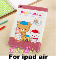 Wholesale For ipad air Case Lovely Cute Cartoon Rilakkuma Bear Wallet PU Leather Cover With Credit Card Slot Stand For Apple iPad