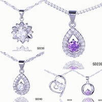 Wholesale Chic Silver Pendant Amethyst Crystal Drop Necklace DIY For wedding Jewelry Mix