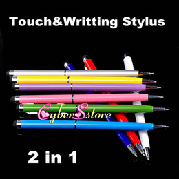 Wholesale 2 in Muti fuction Capacitive Touch Screen Stylus and Ball Point Pen for all Smart CellPhone amp Tablet