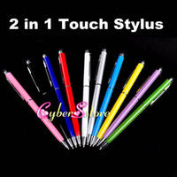 Wholesale 2 in Muti fuction Capacitive Touch Screen amp Writing Stylus and Ball Point Pen for all Smart CellPhone amp Tablet