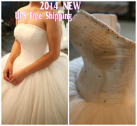 Wholesale 2014 Real Sample Luxury Corset Strapless White With Crystal And Beads Long Court Train Ball Gown Wedding Dress Buy get free necklace TK089