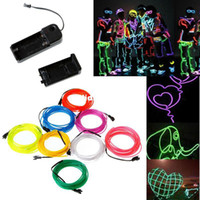 Wholesale Lemon Red Yellow Green White Blue Purple Pink M Flexible Neon Light EL Wire Rope Tube with Controller colors