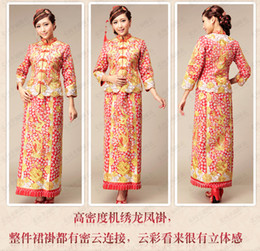 Wholesale 2014Chinese traditional long slap up cheongsam bridal wear Red wedding dress reformed cheongsam