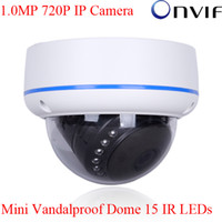 Wholesale Onvif H MegaPixel x720 Resolution P HD Network IP Camera IR Mini Vandal proof Dome Camera