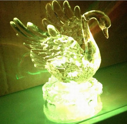 Wholesale 11cm X Wedding Decorations Swan Ice Acrylic LED Battery Operated Color Changing Light Ornaments Brand New Via Fexdes EMS DHL