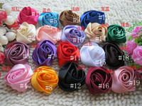 Appliques   Free Shipping! 50pcs Lot 19 Colors Handmade DIY 3D Rose Flower Appliques For DIY Flower Bouquet