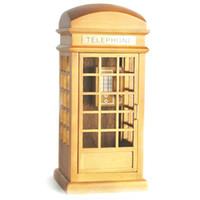 Wholesale Wooden Retro Telephone Booth Clockwork Spring Movement Music Box Gift