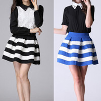 Wholesale New Arrival Fashion Brand Black And White Stripe High Waisted Elastic Ball Gown Plus Short Skirt For Women
