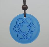 Wholesale 2pcs glass blue color glazed scalar quautum energy pendant band quantum pendant anion pendant negative ion