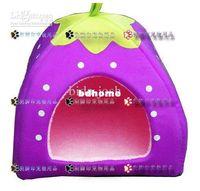 Houses Iron  Wholesale - 5 pcs Brand new colorful strawberry pet nest dog cat bed Luxury warm house size S