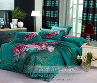 Wholesale Queen size Trend of personalized ink oil painting flower cotton cotton piece bedding set