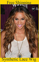 Wholesale cheap heat resistant curly b M HR Ombre synthetic lace front wigs with middle part