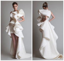 Wholesale 2015 Fall Fashion Crew Appliques Short Front Long Back Organza Wedding Dresses In Dubai Arabic Wedding Dress Wedding Dresses MD117
