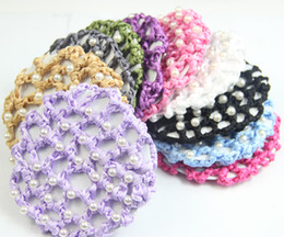 Wholesale One dozen Bun Cover Snood Hair Net Ballet Dance Skating Crochet White Pearl colors you can choose Beautiful Colors