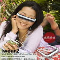 Wholesale 2pcs inch Virtual Screen Resolution Eyewear iWear2 Dynamic Video Glasses for iPod iPhone ipad
